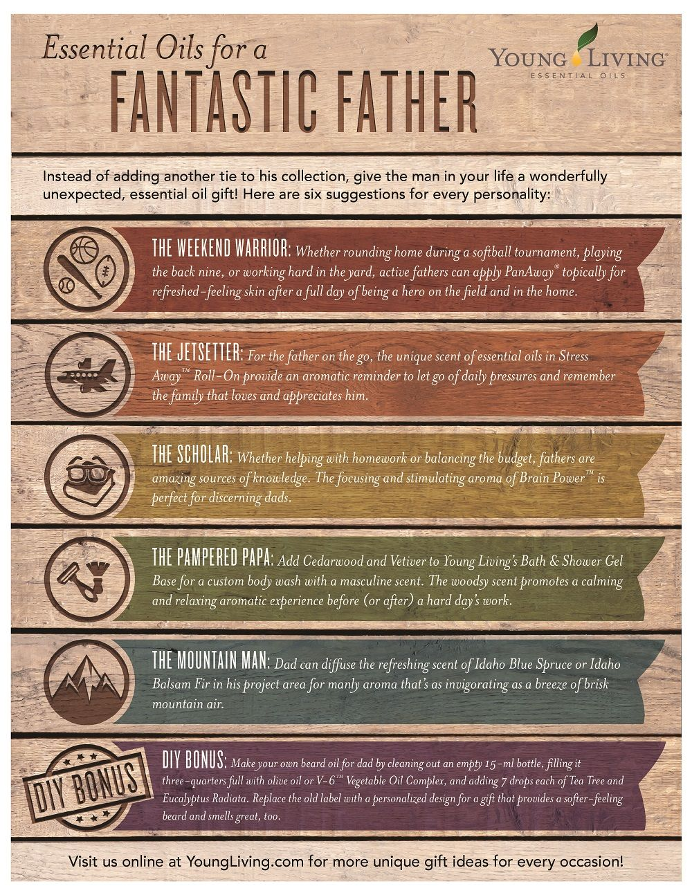 Gift Young Living Essential Oils Daddy Father Male Man Ideas