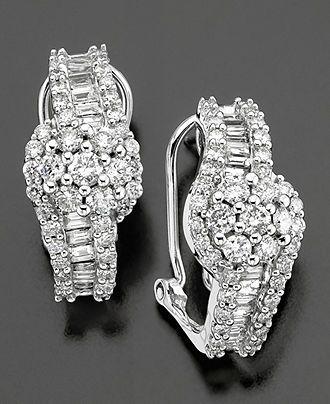 14k White Gold Earrings Diamond Cluster 2 Ct T W Sale