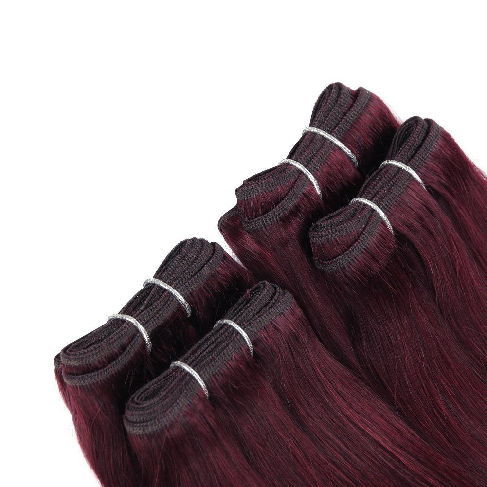 Sleek bundles of short natural yaky weave hair plum red x x