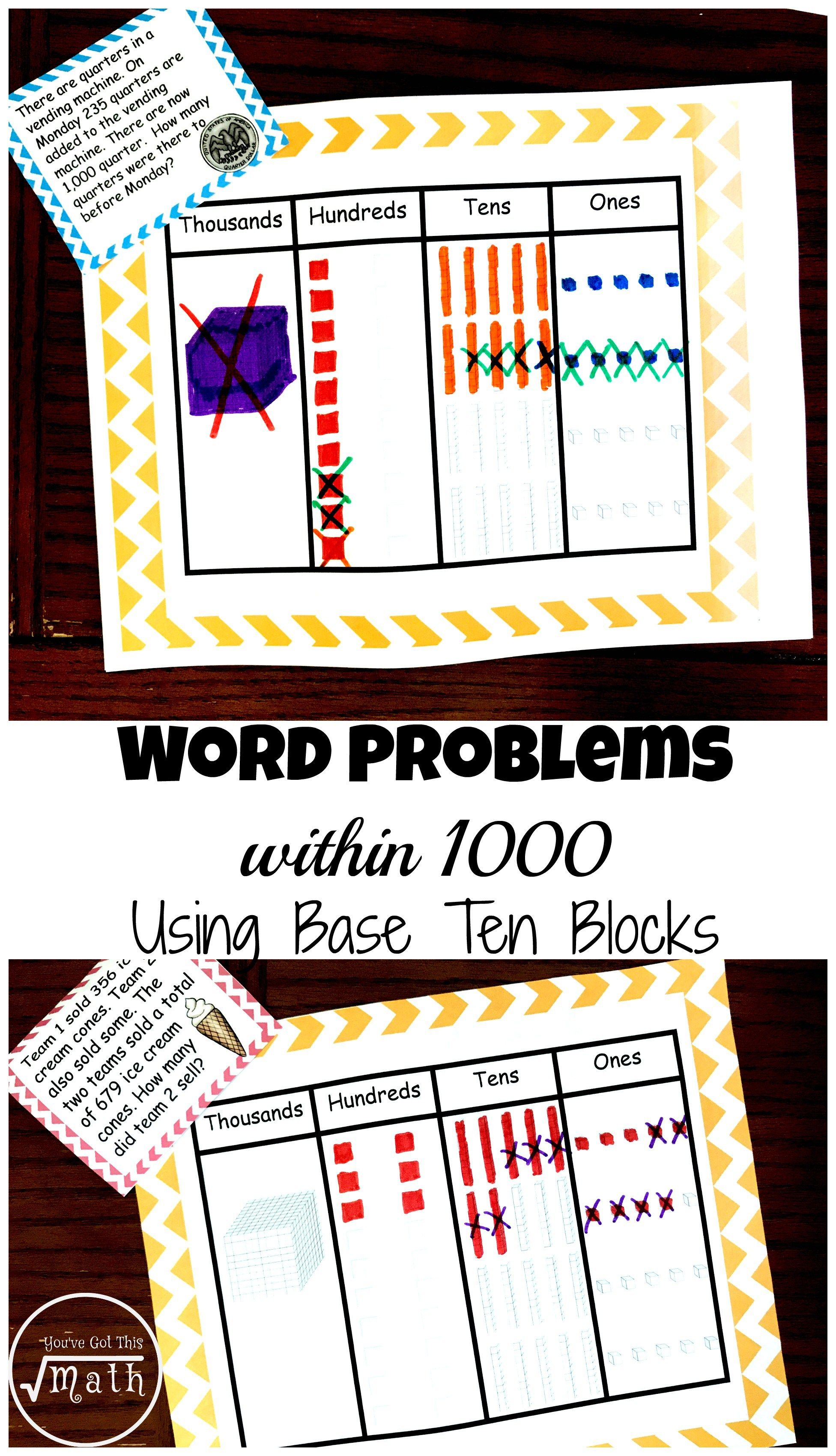 Word Problems Within 1 000 Using Base Ten Blocks