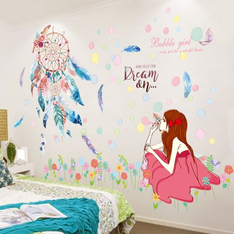 Cheap Wall Stickers Buy Directly From China Suppliers Shijuehezi Colorful Dreamcatcher Feathers Wall Girls Wall Stickers Kids Wall Decals Colorful Kids Room