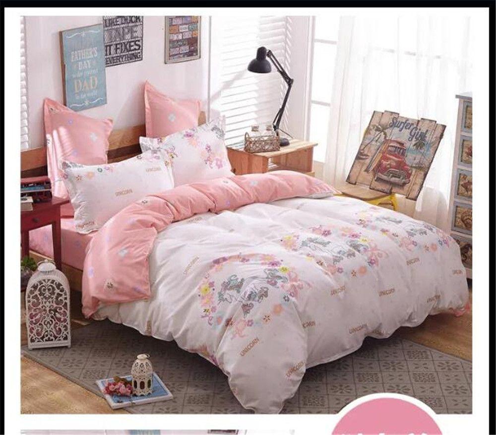 unicorn cartoon comforter bed bedding set 4/5pcs printing quilt ...
