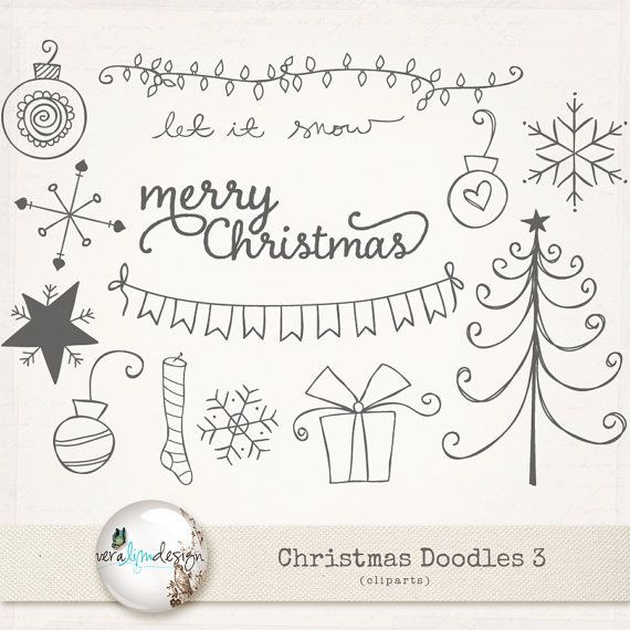 Cliparts Christmas Doodles 3. Perfect for by VeraLimDesign ...