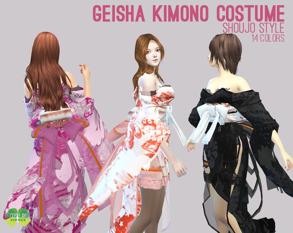 (P) The Sims 4 - Geisha Kimono Costume (With images ...