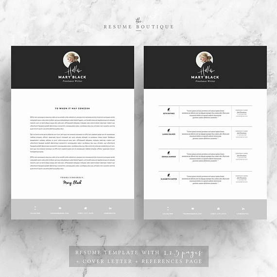 Resume Template And Cover Letter References Template For Etsy Lebenslauf Design Lebenslauf Anschreiben