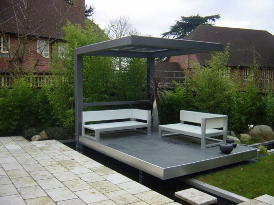 Wondrous Metal Pergola Design for Lovely House Yard : Simple Grey Metal  Pergola Design With Two White Benches Among The Garden Has Grey Floor Tile - Wondrous Metal Pergola Design For Lovely House Yard : Simple Grey