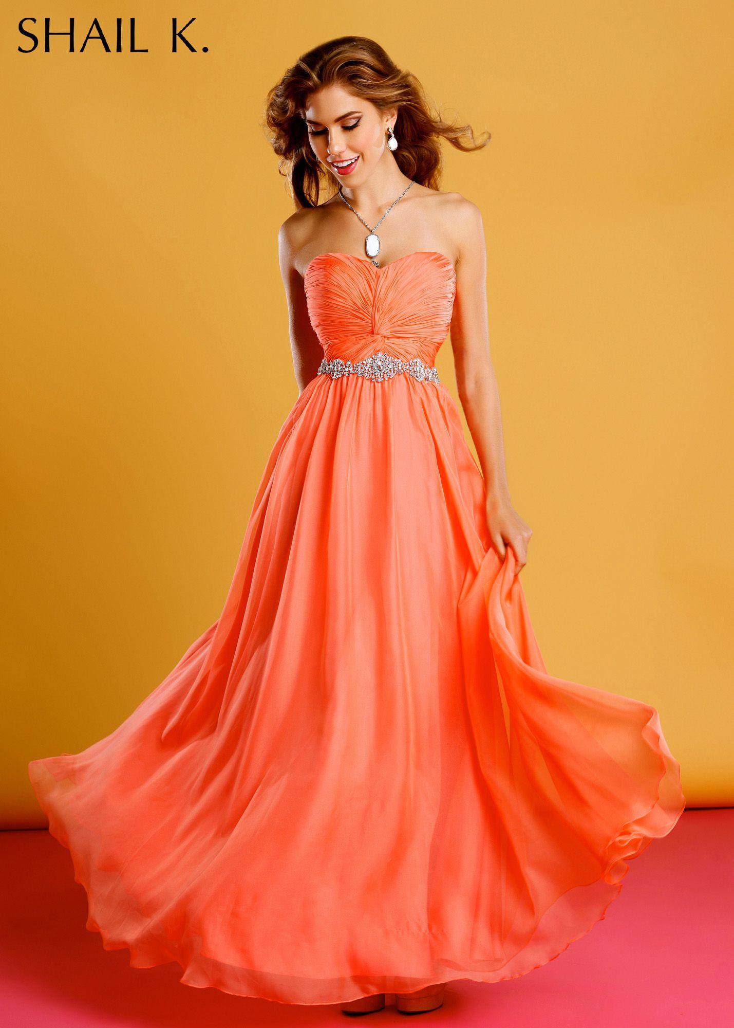 Shail k coral chiffon dress prom dresses online