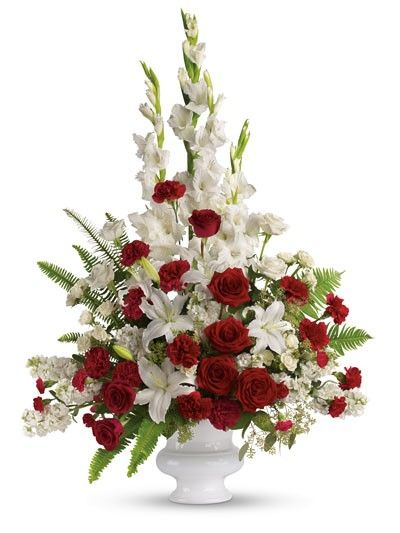 Red white rose pedestal flower arrangement silk flower red white rose pedestal flower arrangement mightylinksfo
