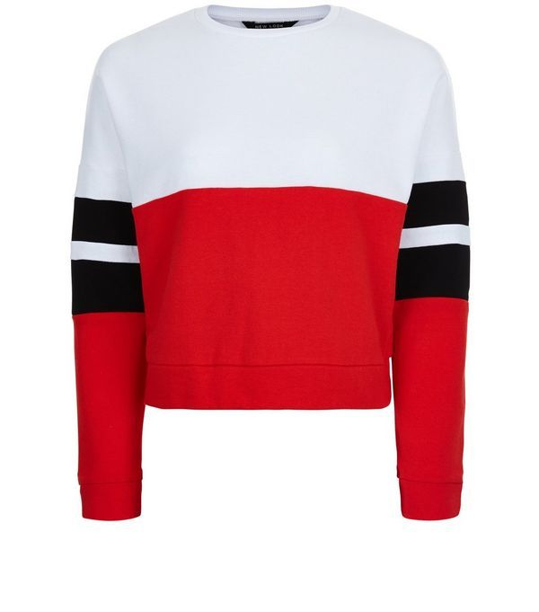 Teens Red Colour Block Stripe Sleeve Sweater | Red color, Color ...