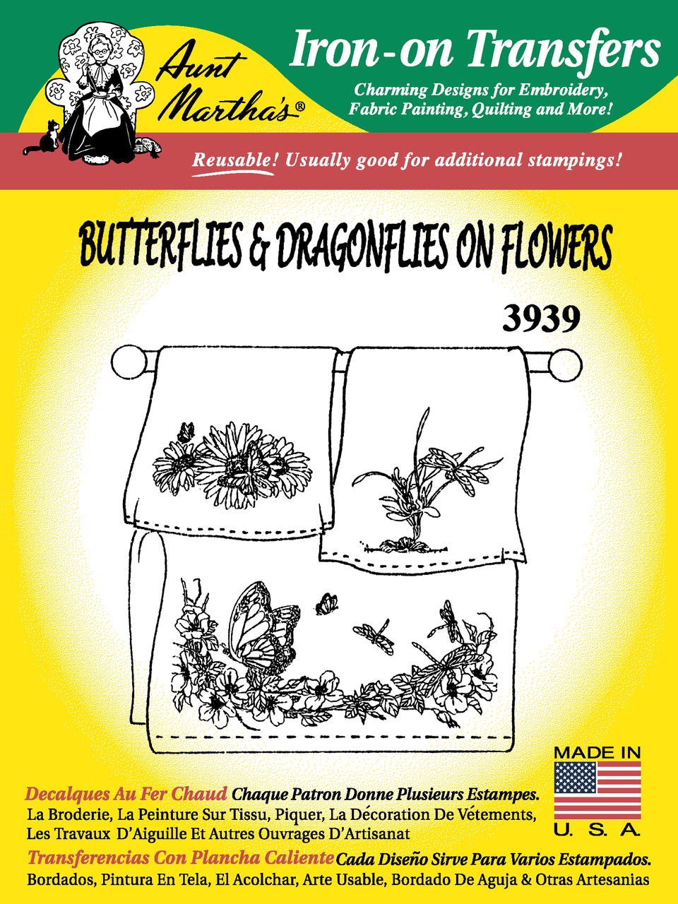 Aunt Martha\'s #3939 Butterflies & Dragonflies on Flowers