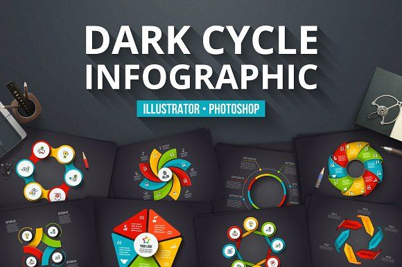 dark cycle infographics by abert on creativemarket infographic template word infographic template powerpoint free editable - Infographic Template Powerpoint Free