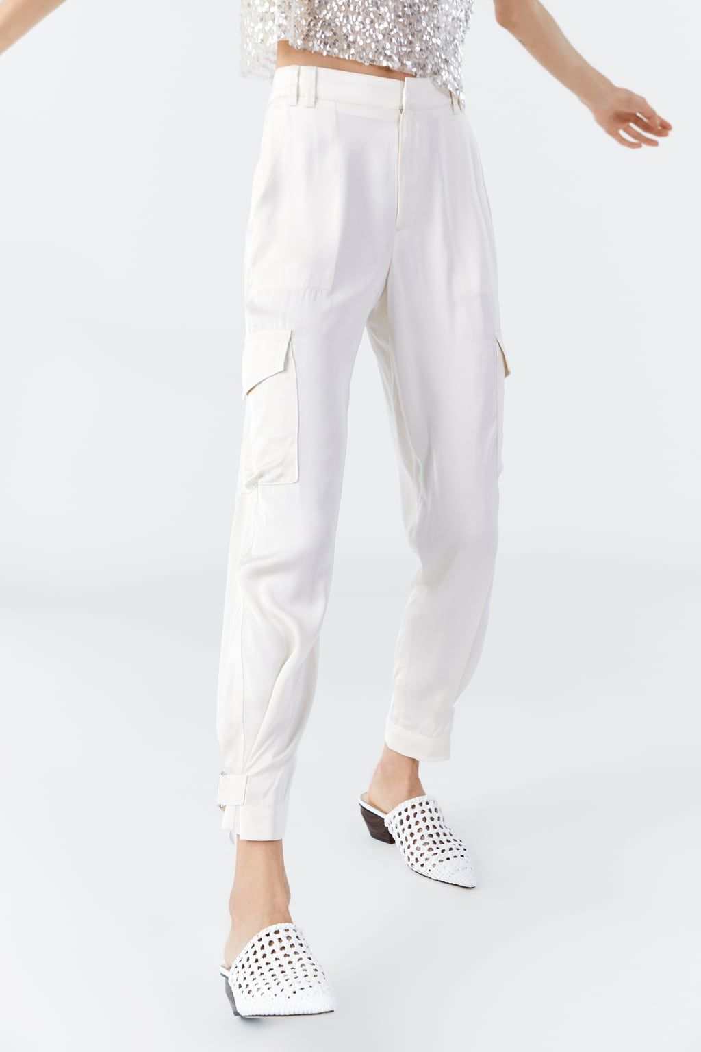 b136d2db Cargobukser i satin in 2019 | Zara | Satin trousers, Pants, Cargo pants