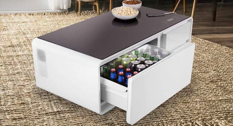 Smart Coffee Table Can Charge Your Phone And Doubles As A Chic Mini Fridge