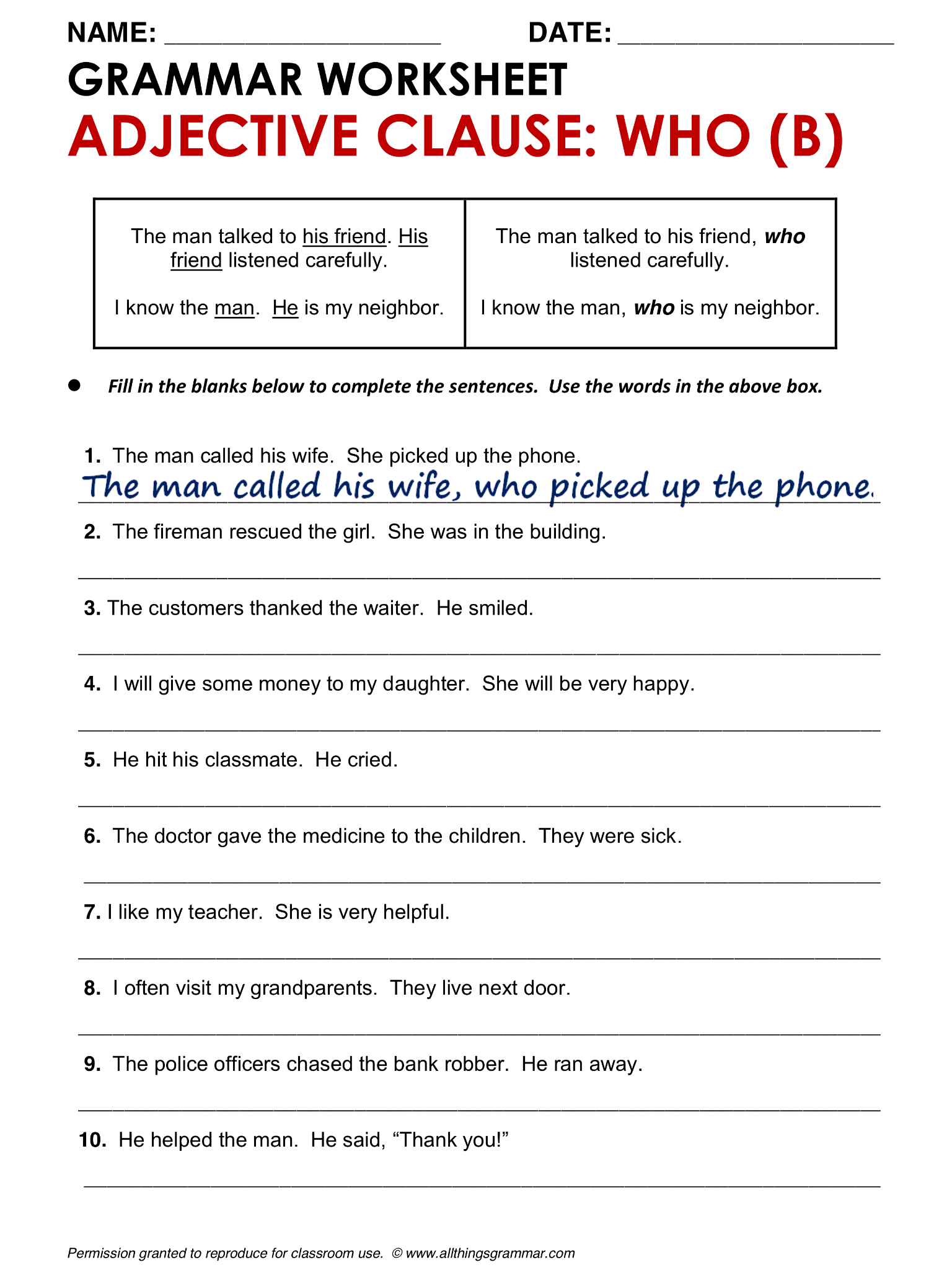 English Grammar Adjective Clause Who B allthingsgrammar – Adjective Clauses Worksheet