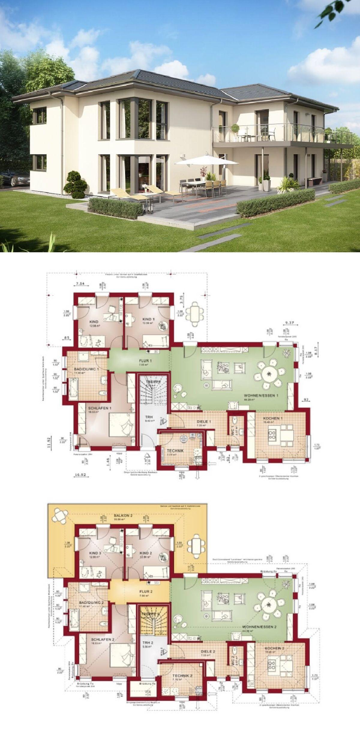 Zweifamilienhaus Mit Walmdach Und Einliegerwohnung Bauen   Haus Ideen  Grundriss Celebration 282 V5 Bien Zenker Fertighaus