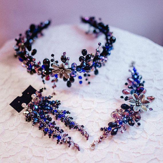 Bridal gift set Wedding headpiece-Bridal earrings Bridal #promthings