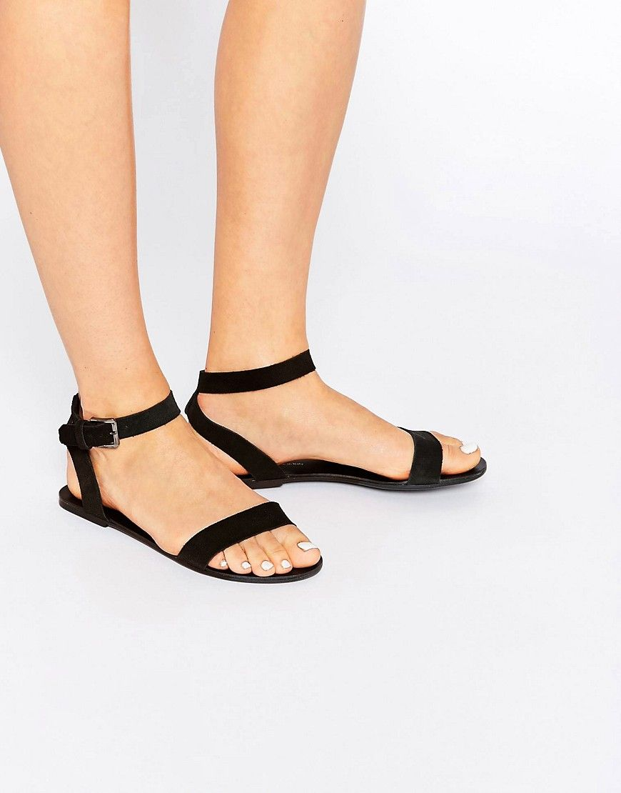 a4a493b4fabd Pieces Carla Black Leather Flat Sandals