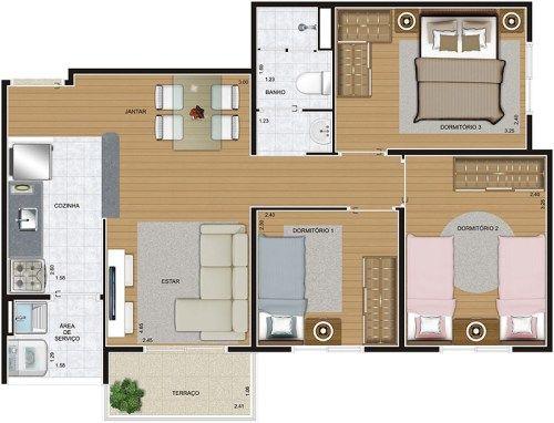 Planta - 3 Dormitórios - 55m²