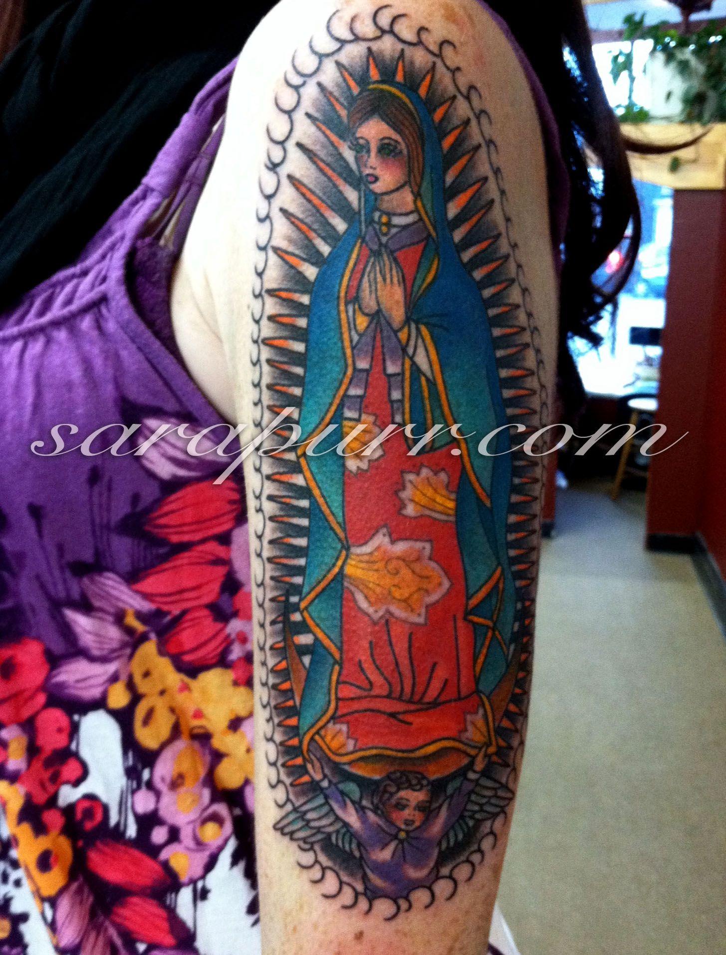 Lady Of Guadalupe Tattoo : guadalupe, tattoo, Virgen, Guadalupe, Tattoo, Traditional, Tattoo,, Tattoos,, American