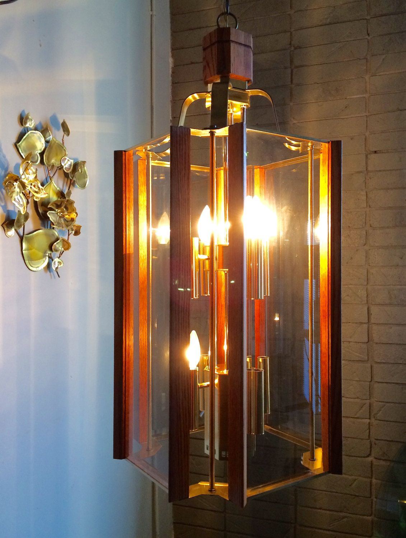 Monumental 9 light mcm wood glass chandelier by fredrick ramond huge 9 light mid century modern chandelier retro wood glass brass by fredrick ramond by offcenterdesign7 mozeypictures Gallery