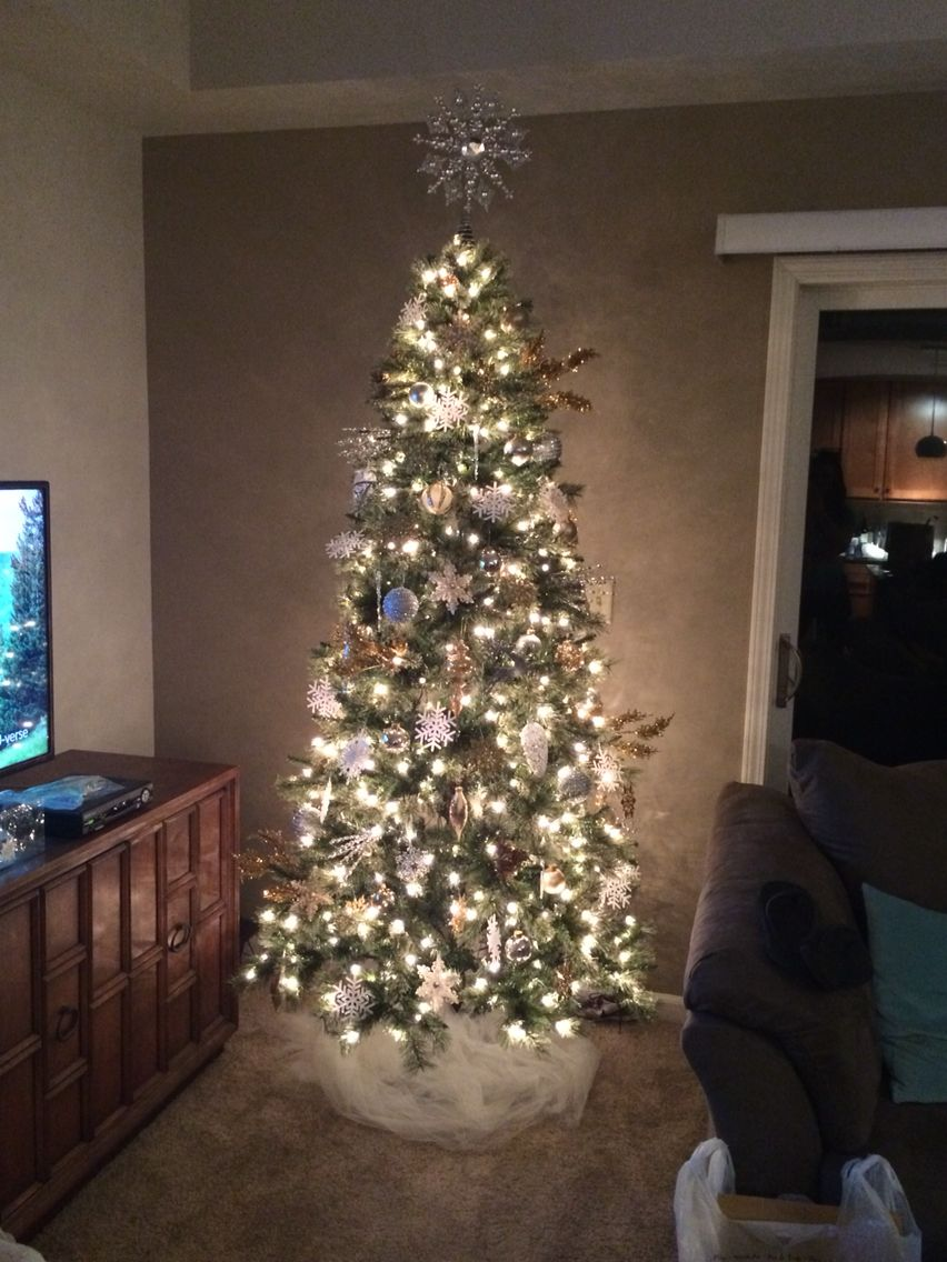 First tree on my own. White, silver and gold. Classy ...