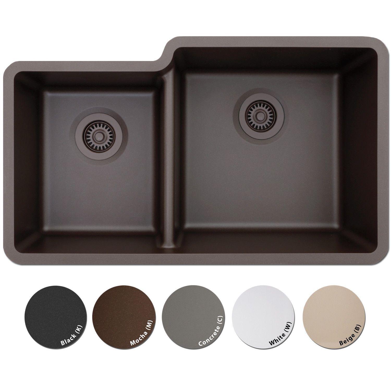 Lexicon platinum offset double bowl quartz composite kitchen sink concrete grey finish