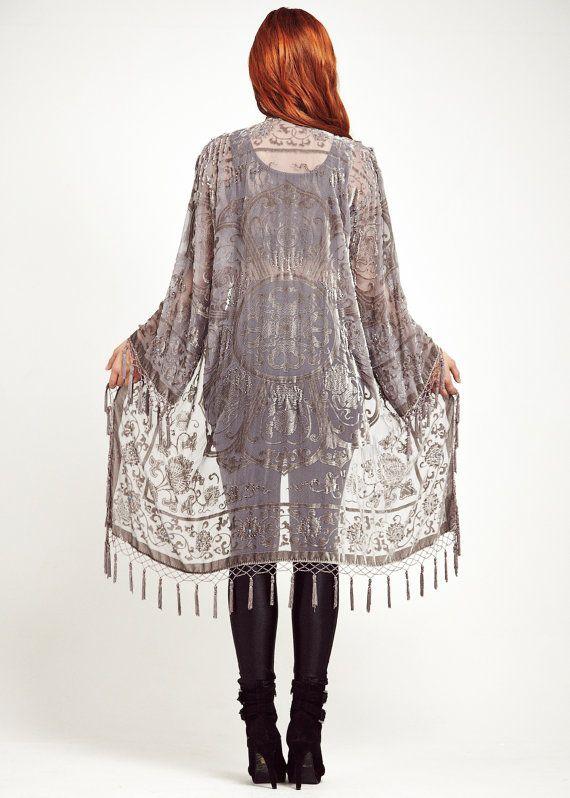 8379d0ffd S I L V E R - L A C E Drape yourself in this shimmering silver grey bohemian  kimono jacket. Featuring ornate silver velvet medallion lace design on