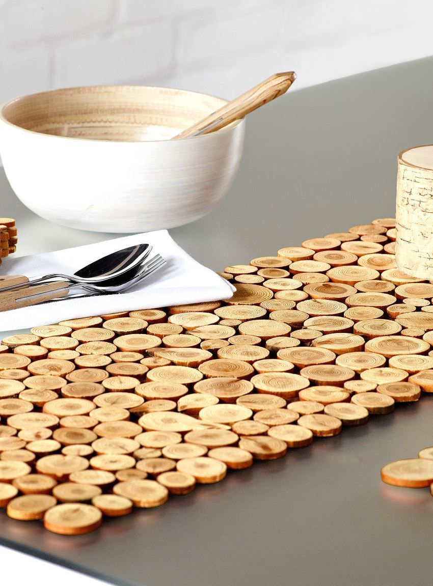 Modern Diy Table Runner Ideas Wood Slices Table Runner Diy
