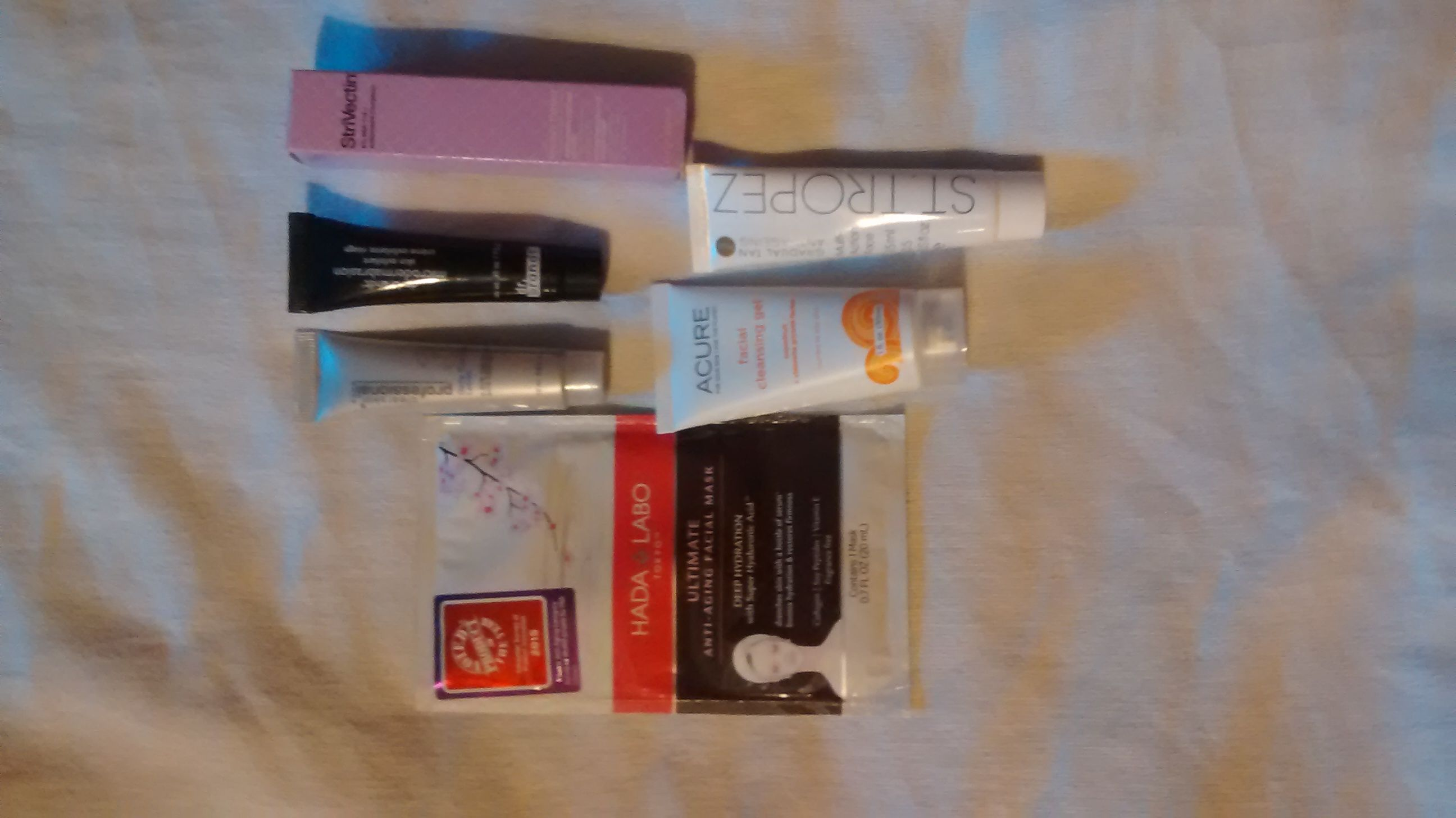 1)strivectin 2)Dr.Brandt microdermabrasion 3)face mask 4)st.Tropez gradual face Tanner 5)Avon clear skin lotion 6)Acure facial cleanser