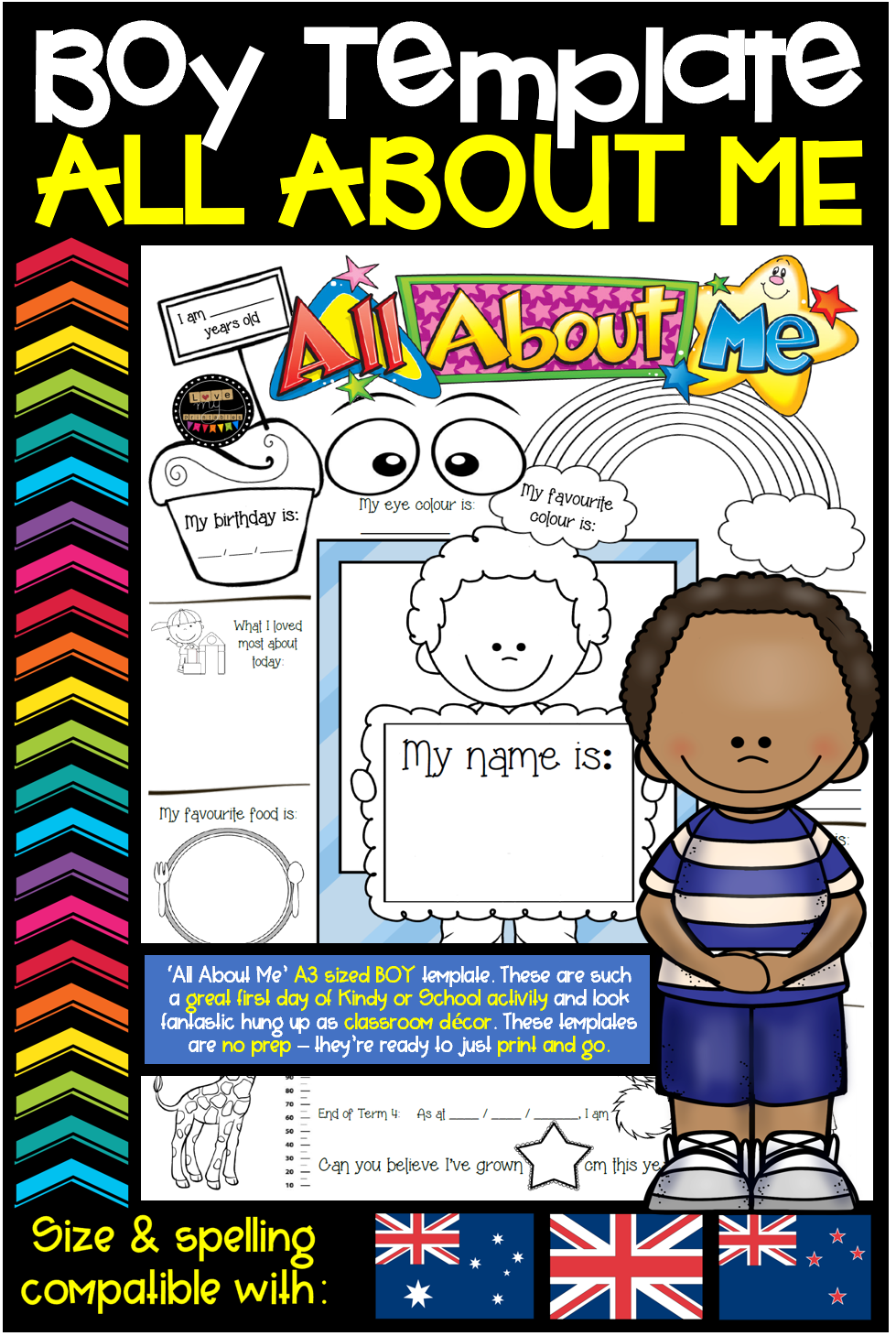 All About Me Template Boys Format A3 Size Aus Nz Uk Compatible About Me Template Kindergarten Activities First Day Activities