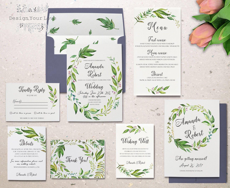 green wedding invitation set printable wedding invitation suite ...