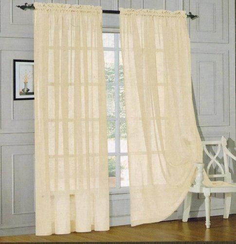 Elegant Comfort 2 Piece Sheer Panel With 2inch Rod Pocket Window