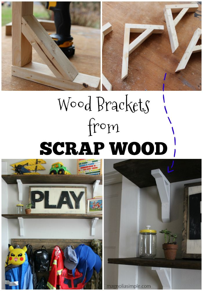 diy wooden shelf brackets easy inexpensive and lovely way to hang a shelf we create diy. Black Bedroom Furniture Sets. Home Design Ideas