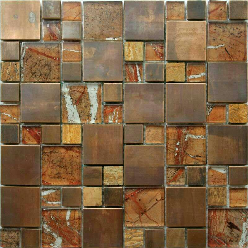 1050 Copper Gl Mosaic Tiles