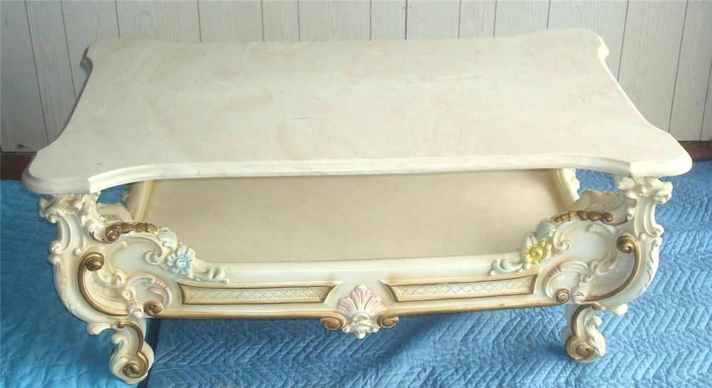 French Italian Provincial Coffee Table Faux Marble Top
