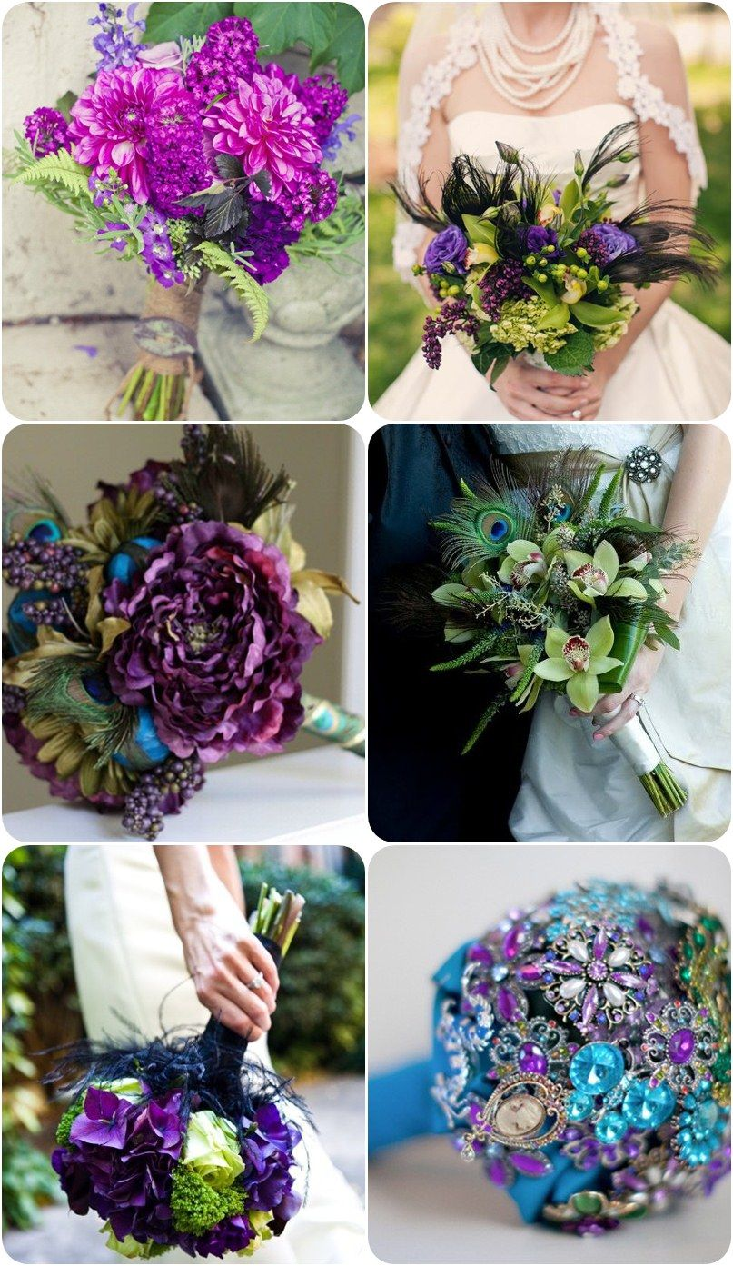 Peacock wedding bouquets Needless to say, peacock themed bouquets are colorful with vibrant colors such as blue, green, purple and yellow. Many brides incorporate feathers into the bouquet for a complete look. The color of the feathers could be either green, blue, gold or even black. Of course the black feathers would create a more dramatic and somewhat Gothic look to your bouquet. Below are a few sample bouquet designs for your inspirations.