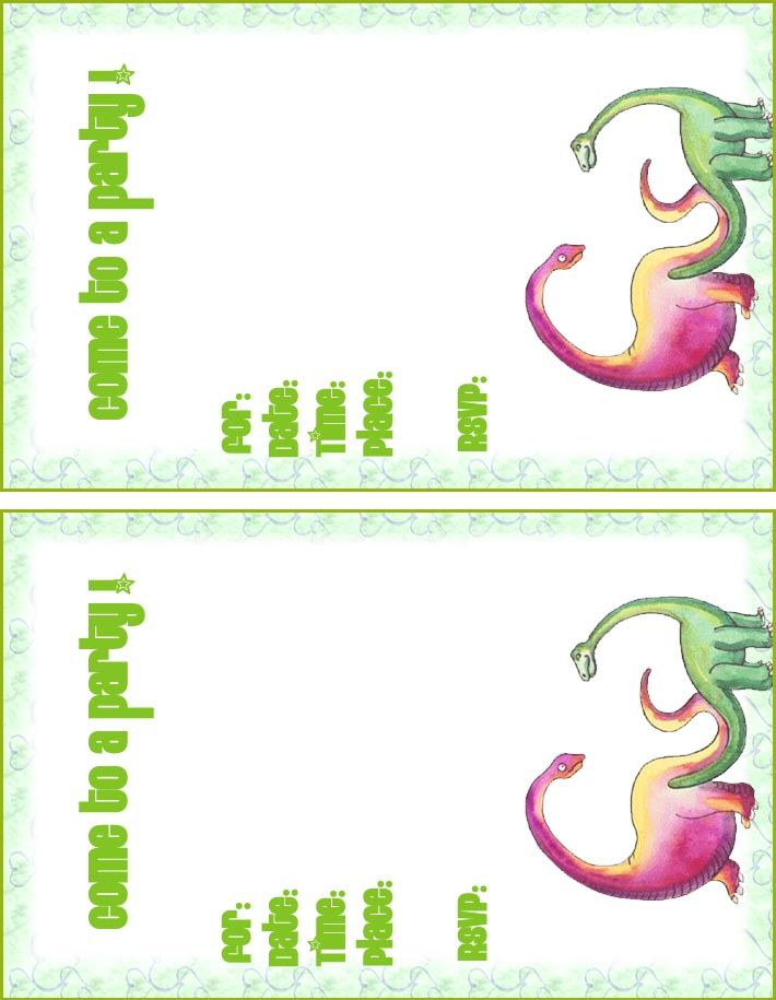 Dinosaur birthday party invitations, free printable and custom - birthday card template