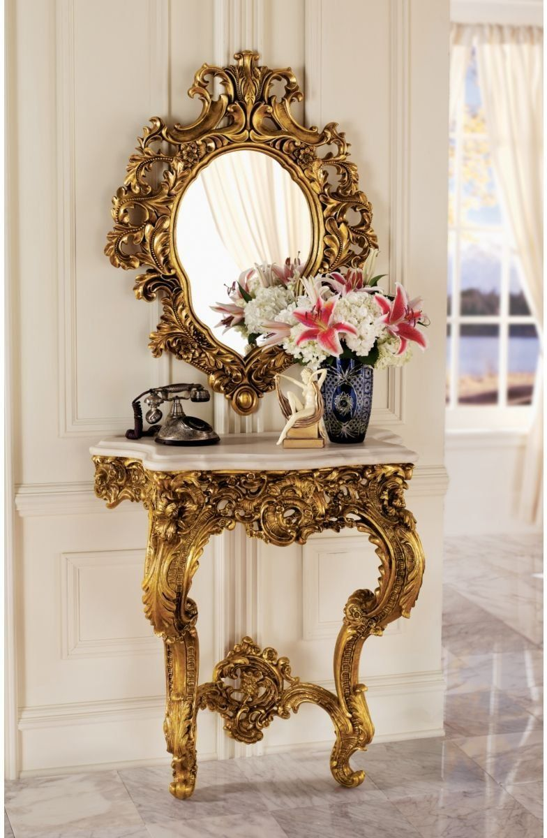 French Rococo Antique Replica Wall Console Table And Salon Mirror Espejos De Pared Espejos Decoracion Antigua