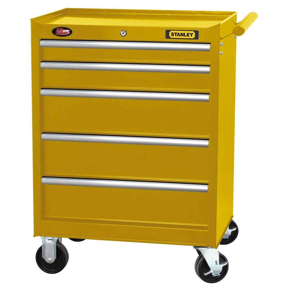 Stanley 27 In 5 Drawer Wide Tool Cabinet In Yellow H5trsy The Home Depot Tool Cabinet Tools Tool Chest