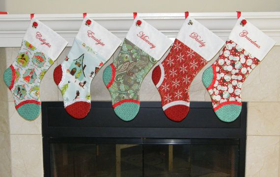 Personalized Christmas stocking set of 5 Red and teal Snowman