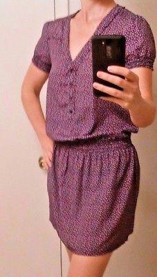 GAP-Dress-Multi-Colored-DIamond-Print-Cap-Sleeve-Smocked-Small-Size