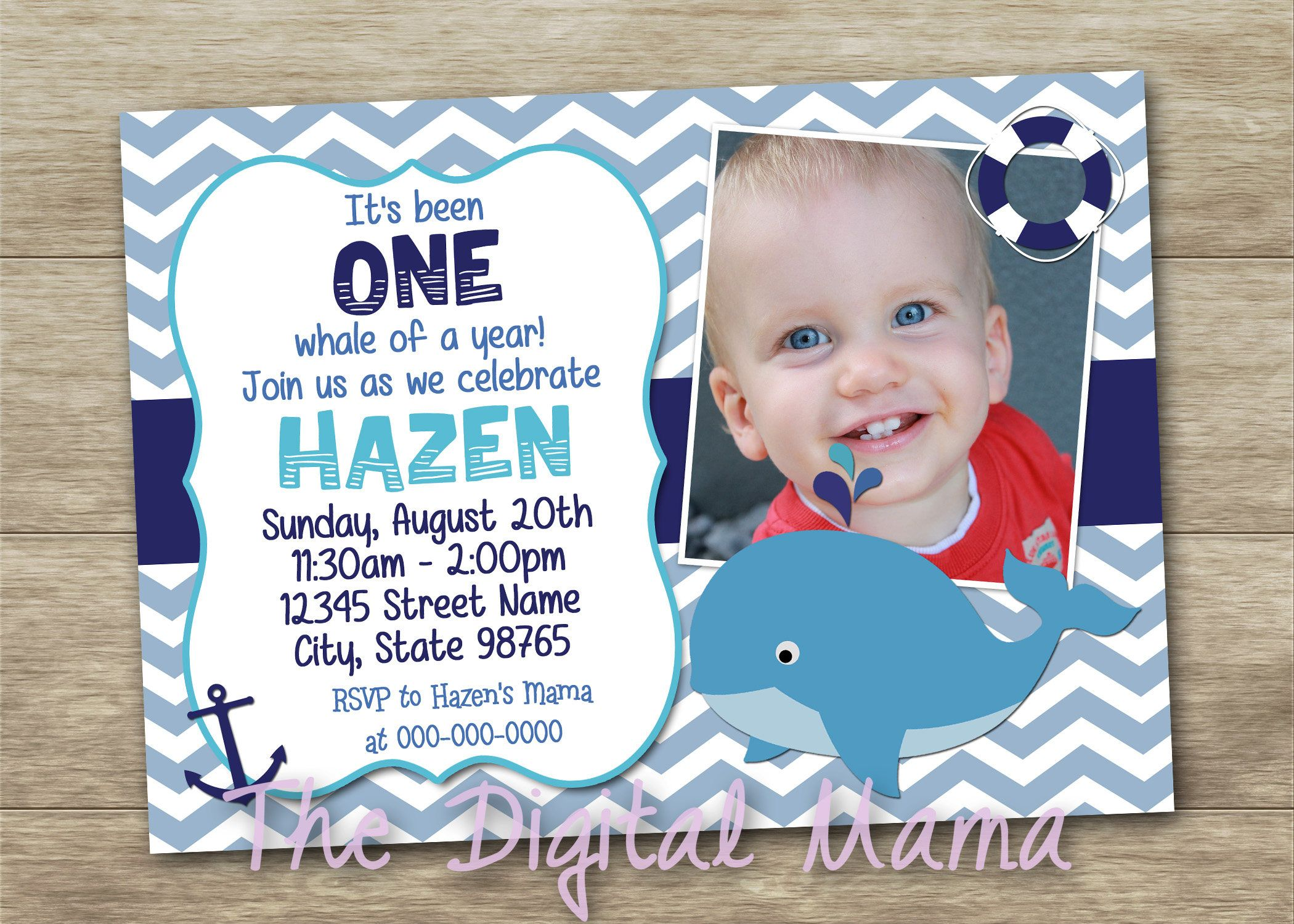 Whale Birthday Party Invitation 1 Year Old Whale Birthday Nautical Birthday Invitation Whale Birthday Parties Whale Birthday Nautical Birthday Invitations