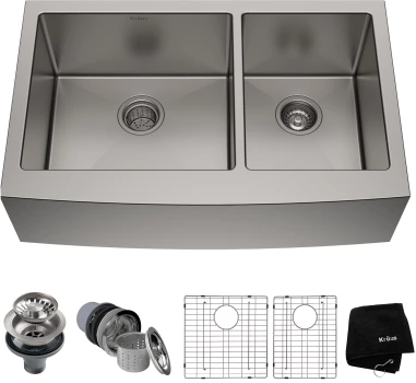 Kraus Khf20336 36 Inch Farmhouse 60 40 Double Bowl Kitchen Sink With 16 Gauge Stainless Steel Noise Defend And Accessory Kit Included Stainless Steel Farmhouse Sink Stainless Steel Sinks Stainless Steel Kitchen Sink