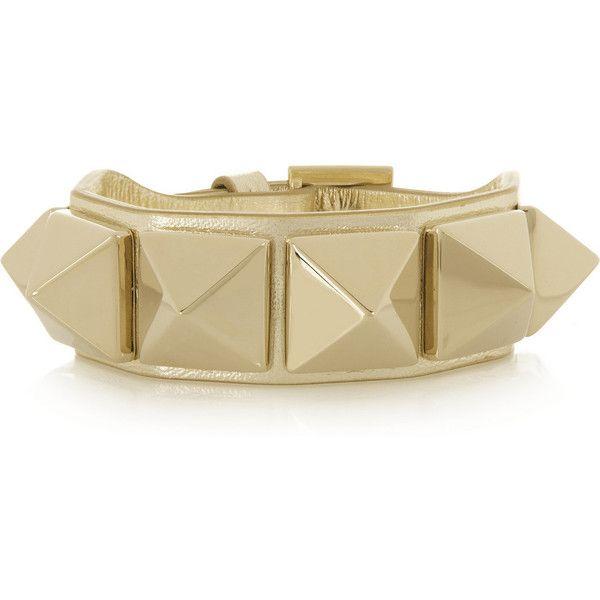 Valentino Va Va Voom studded leather bracelet ($280) found on Polyvore