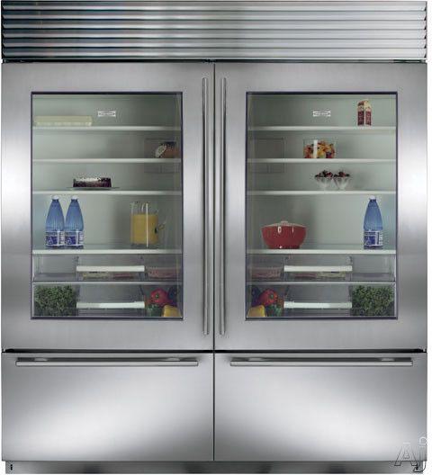 Sub Zero Bi36ugsthrh 36 Inch Built In Bottom Freezer Refrigerator With 16 1 Cu Ft Capacity 3 Adjustable Spillproof Shelves Dual Refrigeration Air Purificat Glass Door Refrigerator Glass Door Fridge Glass Door