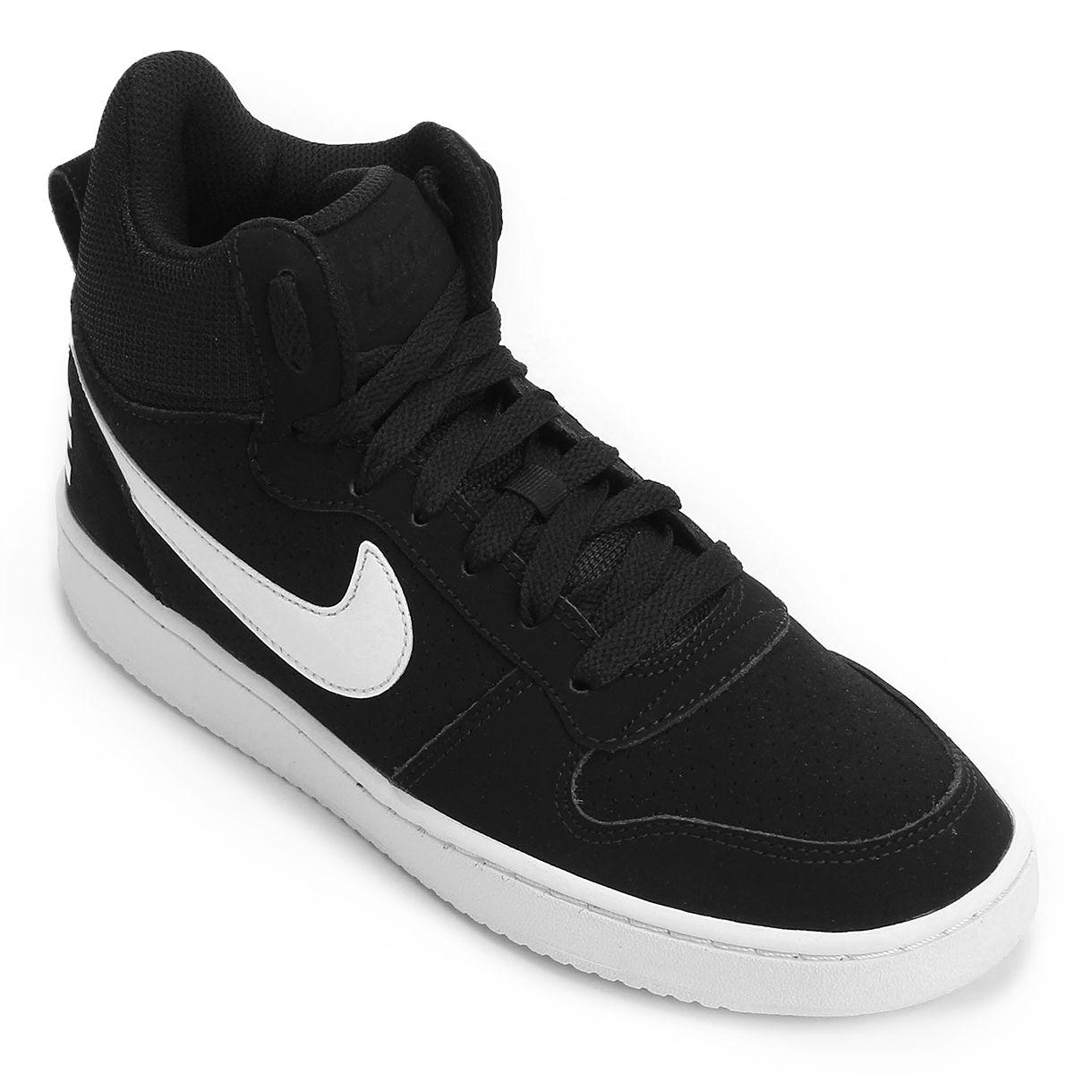 d086f1d35db Tênis Couro Cano Alto Nike Recreation Mid Feminino - Preto e Branco ...