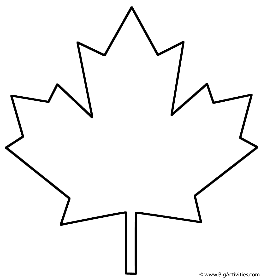 Coloring Page Maple Leaf Template Leaves Template Free