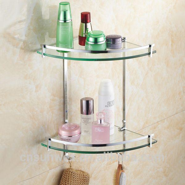 Dual Tier Glass Bathroom Corner Shelf Triangle Bathroom Glass Shelf