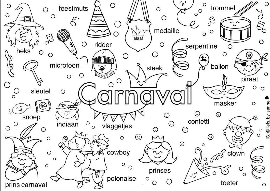 Pin Van Els Retsin Op Letterpret Kinderkleurplaten Carnaval Knutselen Carnaval