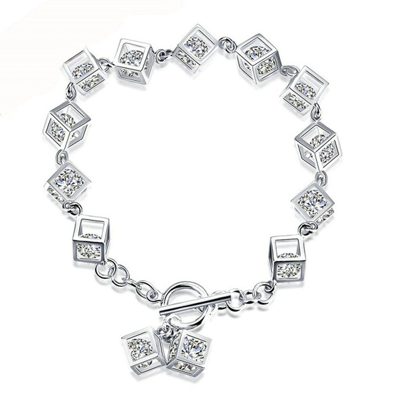 Adisaer silver charms bracelets women bangle polished diamond cube